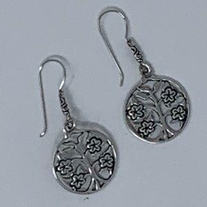Sterling Silver Tree Of Life Dangling Earrings